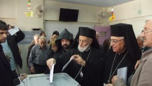 Patriarch of Antioch and All the East casting his ballot, April 13, 2016