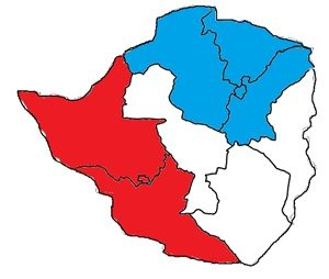 Red: Bulawayo and the provinces of Matabeleland North and South (Ndebele) Blue: Harare and the provinces of Mashonaland North, East, and Central (Shona)