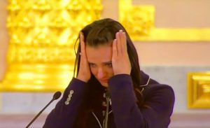 Yelena Isinbaeva crying at the Olympic farewell reception in Kremlin on July 27. The two times Olympic champion and unrivaled contender for the gold in Rio, was perfidiously banned by IAAF despite her crystal clear doping record.