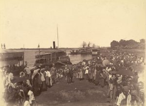 Arrival of British forces in Mandalay on 28 November 1885 at the end of the Third Anglo-Burmese War.