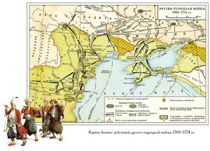 Operational map of the Russo-Turkish war in 1768-1774