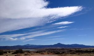 The south-facing view from Ghost Ranch: Cerro Pedernal (the flat top mesa) makes an appearance in 28 O'Keefe paintings.