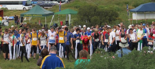 Runners line up at the relay start