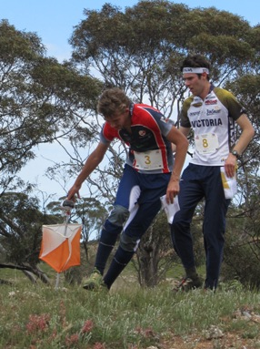 Simon Uppill for SA followed by David Brownridge  (Vic) at the spectator control (M21E)