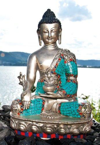 FI 138 6 esoterik 1 - Ratnasambhava Buddha versilbert, mit Türkissteinen