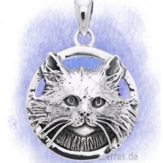 Anhänger Katzenrelief aus 925-Silber