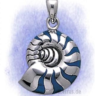 Anhänger Krafttier Schnecke blau aus 925-Silber