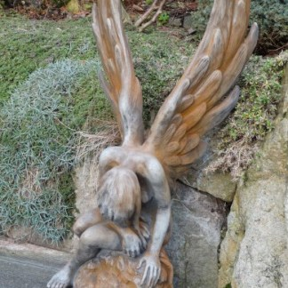 Engel Athene Rostoptik - Elfe Andin kniend mit sep. Frosch