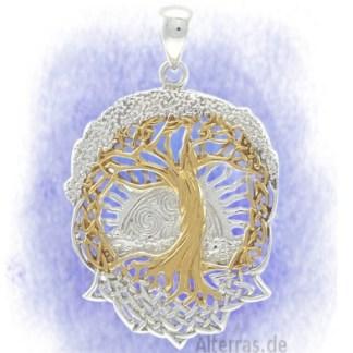 Anhänger Baum der Sonnenwende aus 925-Silber vergoldet