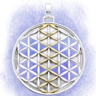 Anhänger Blume des Lebens aus 925-Silber vergoldet