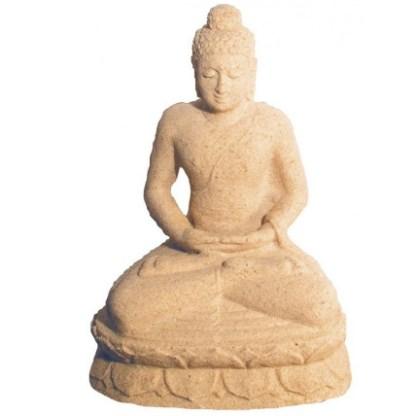 Buddha in Meditation Sandstein natur 15x24cm