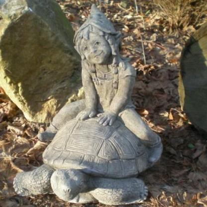 Hunsrückkobold Lilly auf Schildkröte