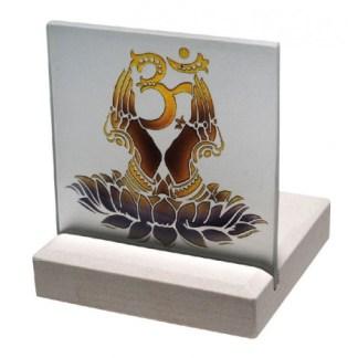 Teelicht Om Namaste Glas Stein graviert 10x13cm