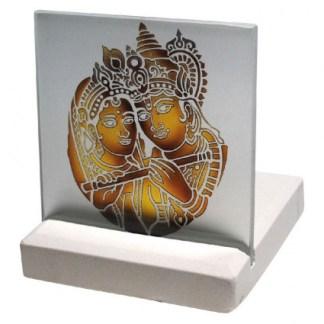 Teelicht Rama und Cita Glas Stein graviert 10x13cm