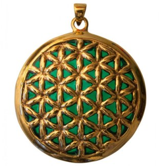 Anhänger Blume des Lebens Bronze grün 45mm