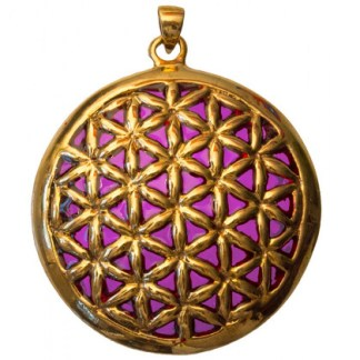 Anhänger Blume des Lebens Bronze violett 45mm