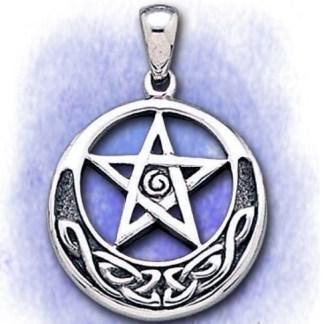 Anhänger Pentagramm mit Mondsichel aus 925-Silber