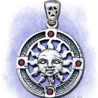 Anhänger Sonne mit Granatsteinen aus 925-Silber