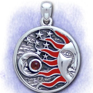 Anhänger Sonne und Mond, emaliert aus 925-Silber