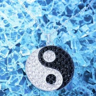 Anhänger Ying Yang mit Swarovski Elements