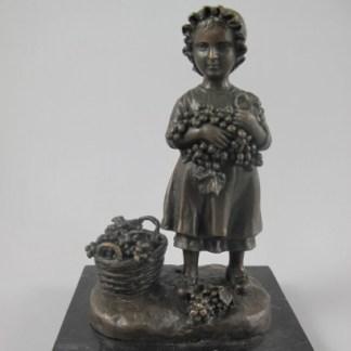 Bronze Figur Blumen Lady