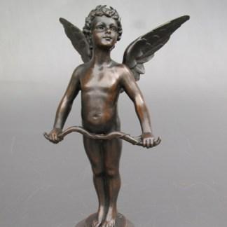 Bronze Figur Engel Amor - mit Bogen