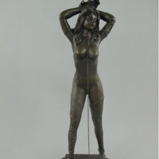 "Bronze Figur Lady angekettet - Bronze Figur ""Lady angekettet"" 35x12cm"