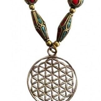 Halskette Blume des Lebens Messing und Nepalperlen