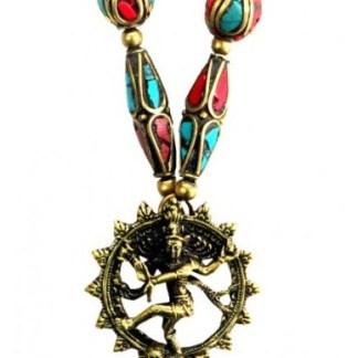 Halskette Shiva Nataraja Messing und Nepalperlen
