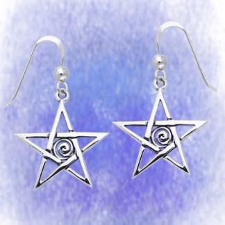 Ohrringe Pentagramm mit Spirale aus 925-Silber
