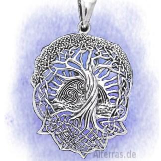Anhänger Baum der Sonnenwende Yggdrasil aus 925-Silber