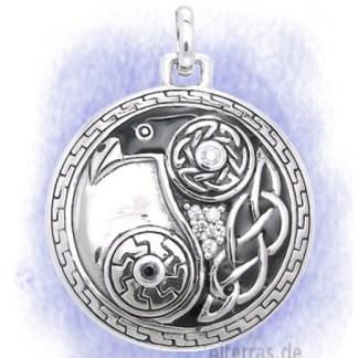 Anhänger Rabe rund mit Symbolen aus 925-Silber