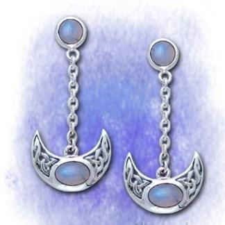 Ohrringe Halbmond mit Mondstein aus 925-Silber