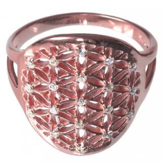 Ring Blume des Lebens aus 925 Silber 2cm rot vergoldet