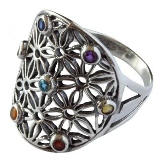 Ring Blume des Lebens aus 925 Silber mit 7 Zirconia
