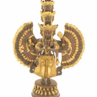 Avalokiteshvara 37cm mit elf Gesichtern - Grüne Tara Statue 21cm antik-gold