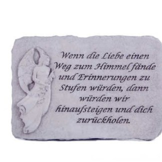 """Engelstein Wenn die Liebe - Engelstein Gedenkstein """"Erinnerungen sind kleine..."""" Steinguss"""