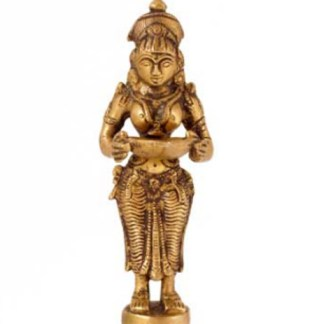 Lakshmi Deep stehend 11cm - Lakshmi sitzend 21cm kupfer-silber-gold