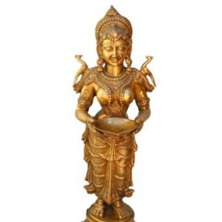 Lakshmi Deep stehend fein 80cm - Lakshmi stehend fein 80cm antik-gold