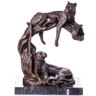 """Bronzefigur Tier Leoparden af Baum 36x29x16cm - Bronze Figur Tier """"Leoparden auf Baum"""" 36x29x16cm"""
