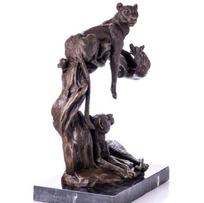 """Bronzefigur Tier Leoparden af Baum 36x29x16cm3 - Bronze Figur Tier """"Leoparden auf Baum"""" 36x29x16cm"""