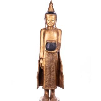 Buddha stehend aus Holz handgeschnitzt 100x30x30cm - Buddha stehend aus Holz handgeschnitzt 100x30x30cm