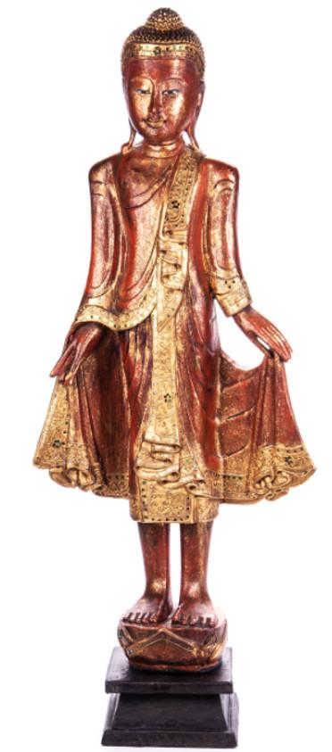 Buddha stehend aus Holz handgeschnitzt 119x39x19cm2