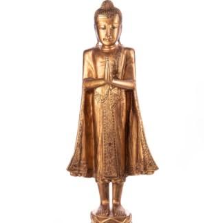 Buddha stehend aus Holz handgeschnitzt 119x39x20cm - Buddha stehend aus Holz handgeschnitzt 120x40x19cm