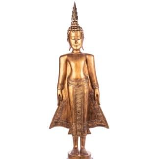 Buddha stehend aus Holz handgeschnitzt 119x39x21cm