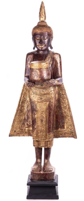 Buddha stehend aus Holz handgeschnitzt 120x40x20cm B-182