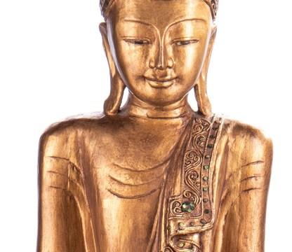Buddha stehend aus Holz handgeschnitzt 120x40x20cm B 203 - Buddha stehend aus Holz handgeschnitzt 120x40x20cm B-20