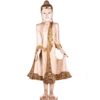 Buddha stehend aus Holz handgeschnitzt 121x40x20cm