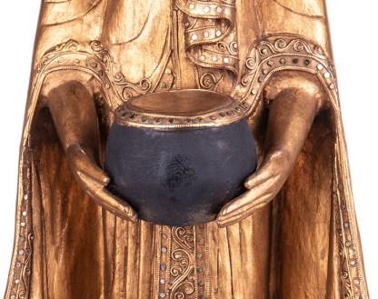 Buddha stehend mit Topf aus Holz handgeschnitzt 120x40x20cm4 - Buddha stehend mit Topf aus Holz handgeschnitzt 120x40x20cm