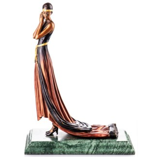 "Bronze Figur Art Deco Frau mit Kleid 39cm - Farbige Bronze Figur ""Art Deco Frau mit Kleid"" 39cm"